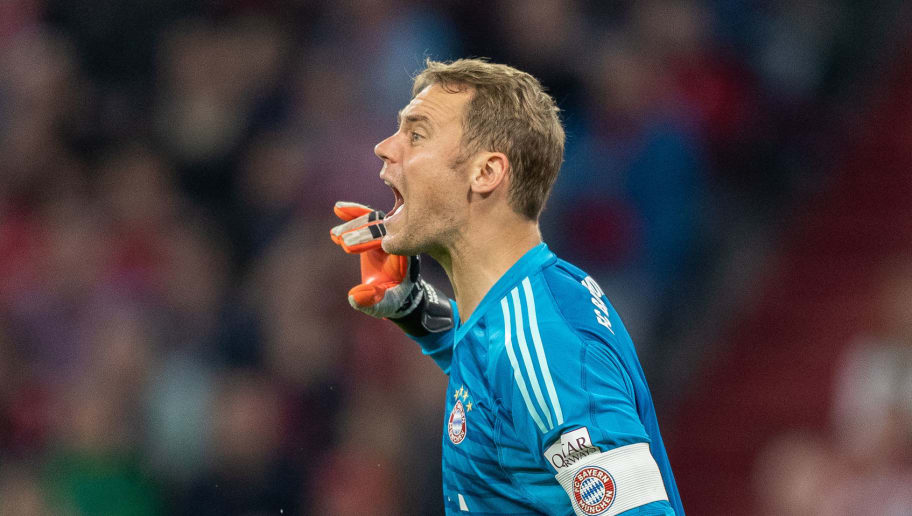 MUNICH, GERMANY - OCTOBER 06: Goalkeeper Manuel Neuer of FC Bayern Muenchen reacts during the Bundesliga match between FC Bayern Muenchen and Borussia Moenchengladbach at Allianz Arena on October 6, 2018 in Munich, Germany. (Photo by Boris Streubel/Getty Images)