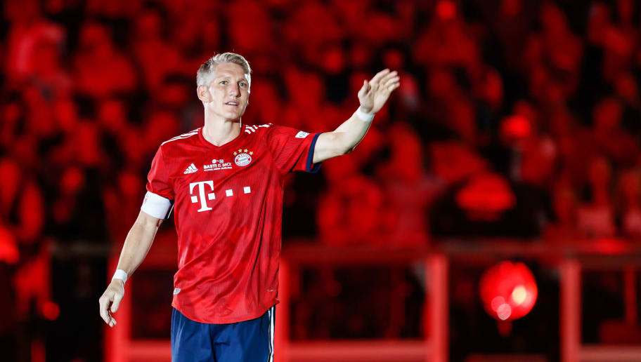 MUNICH, GERMANY - AUGUST 28: Bastian Schweinsteiger of Bayern Muenchen gestures after the friendly match between FC Bayern Muenchen and Chicago Fire at Allianz Arena on August 28, 2018 in Munich, Germany. (Photo by TF-Images/Getty Images)