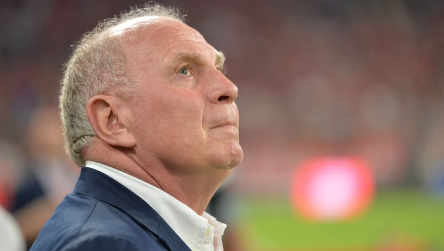 MUNICH, GERMANY - AUGUST 28:  president Uli Hoeneß of FC Bayern Muenchen during the friendly match between FC Bayern Muenchen and Chicago Fire at Allianz Arena on August 28, 2018 in Munich, Austria, Germany. (Photo by Carsten Harz/SEPA.Media /Getty Images)