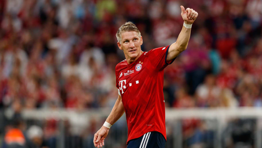 MUNICH, GERMANY - AUGUST 28: Bastian Schweinsteiger of Chicago Fire gestures during the friendly match between FC Bayern Muenchen and Chicago Fire at Allianz Arena on August 28, 2018 in Munich, Germany. (Photo by TF-Images/Getty Images)