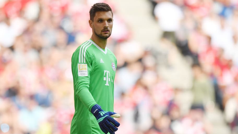 MUNICH, GERMANY - APRIL 28: Goalkeeper Sven Ulreich  of Bayern Muenchen looks on during the Bundesliga match between FC Bayern Muenchen and Eintracht Frankfurt at Allianz Arena on April 28, 2018 in Munich, Germany. (Photo by Sebastian Widmann/Bongarts/Getty Images)