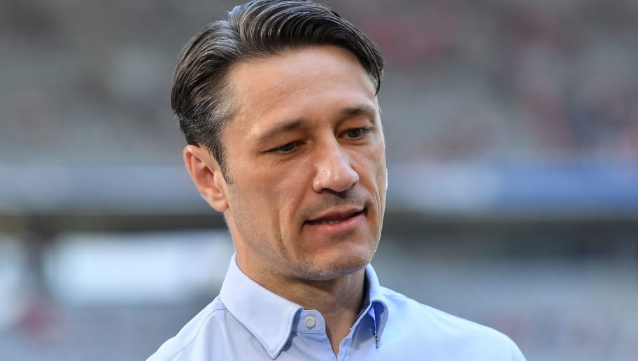 MUNICH, GERMANY - APRIL 28: Head coach Niko Kovac of Frankfurt looks down during an interview prior to the Bundesliga match between FC Bayern Muenchen and Eintracht Frankfurt at Allianz Arena on April 28, 2018 in Munich, Germany. (Photo by Sebastian Widmann/Bongarts/Getty Images)