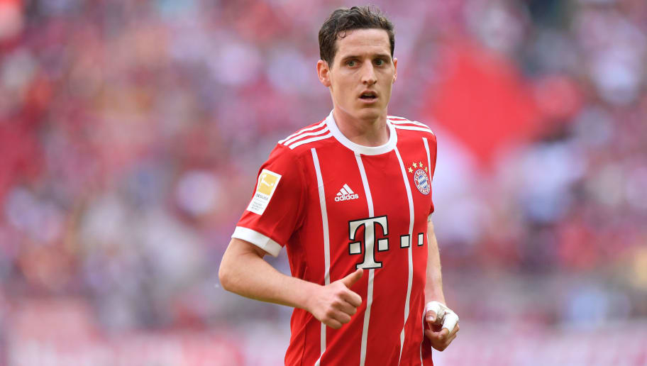 MUNICH, GERMANY - APRIL 28: Sebastian Rudy of Bayern Muenchen looks on during the Bundesliga match between FC Bayern Muenchen and Eintracht Frankfurt at Allianz Arena on April 28, 2018 in Munich, Germany. (Photo by Sebastian Widmann/Bongarts/Getty Images)