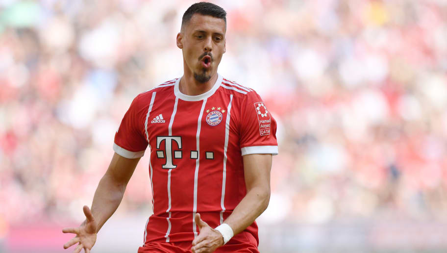 MUNICH, GERMANY - APRIL 28: Sandro Wagner of Bayern Muenchen reacts during the Bundesliga match between FC Bayern Muenchen and Eintracht Frankfurt at Allianz Arena on April 28, 2018 in Munich, Germany. (Photo by Sebastian Widmann/Bongarts/Getty Images)
