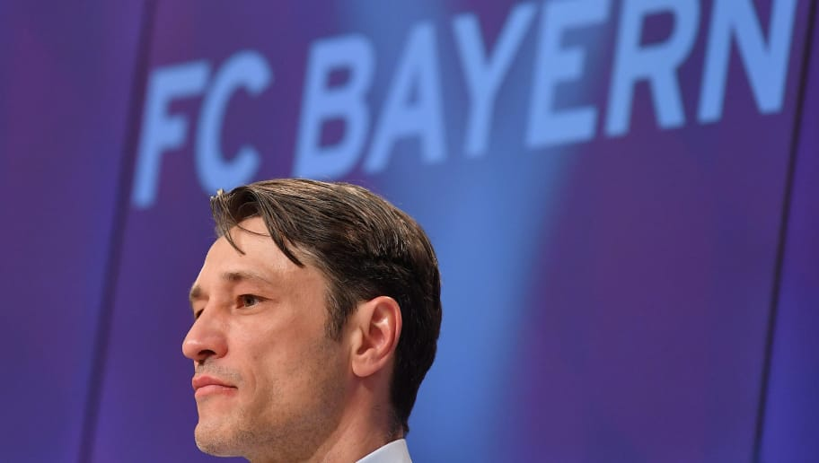 MUNICH, GERMANY - APRIL 28: Head coach Niko Kovac of Frankfurt attends a press conference after the Bundesliga match between FC Bayern Muenchen and Eintracht Frankfurt at Allianz Arena on April 28, 2018 in Munich, Germany. (Photo by Sebastian Widmann/Bongarts/Getty Images)
