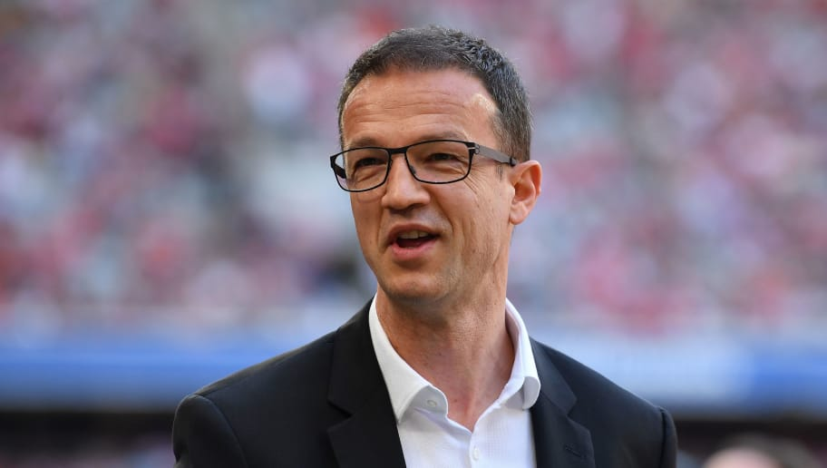 MUNICH, GERMANY - APRIL 28: Fredi Bobic of Frankfurt looks on prior to the Bundesliga match between FC Bayern Muenchen and Eintracht Frankfurt at Allianz Arena on April 28, 2018 in Munich, Germany. (Photo by Sebastian Widmann/Bongarts/Getty Images)