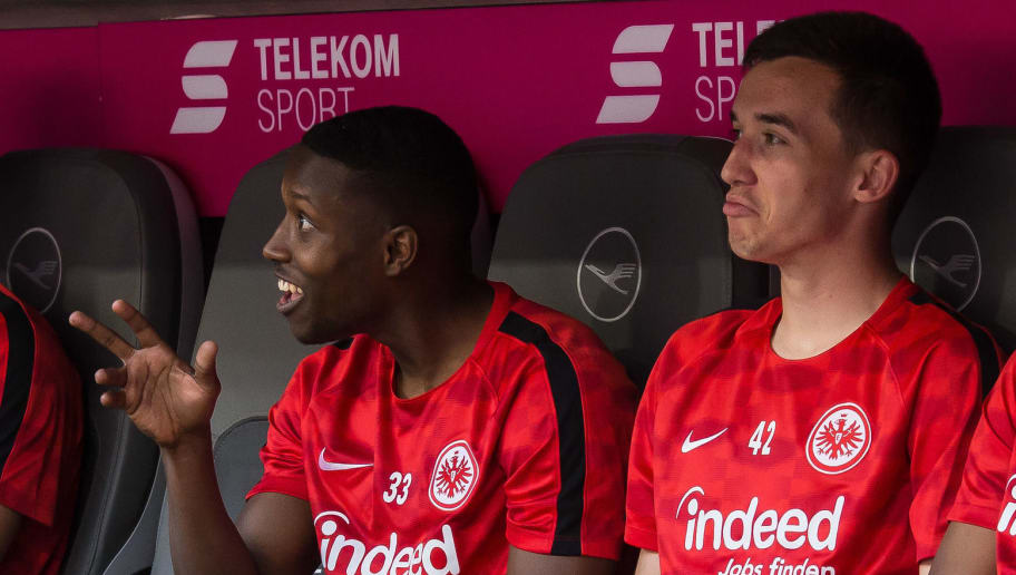 MUNICH, GERMANY - APRIL 28: Taleb Tawatha of Frankfurt gestures and Marijan Cavar of Frankfurt looks on prior to the Bundesliga match between FC Bayern Muenchen and Eintracht Frankfurt at Allianz Arena on April 28, 2018 in Munich, Germany. (Photo by TF-Images/Getty Images)