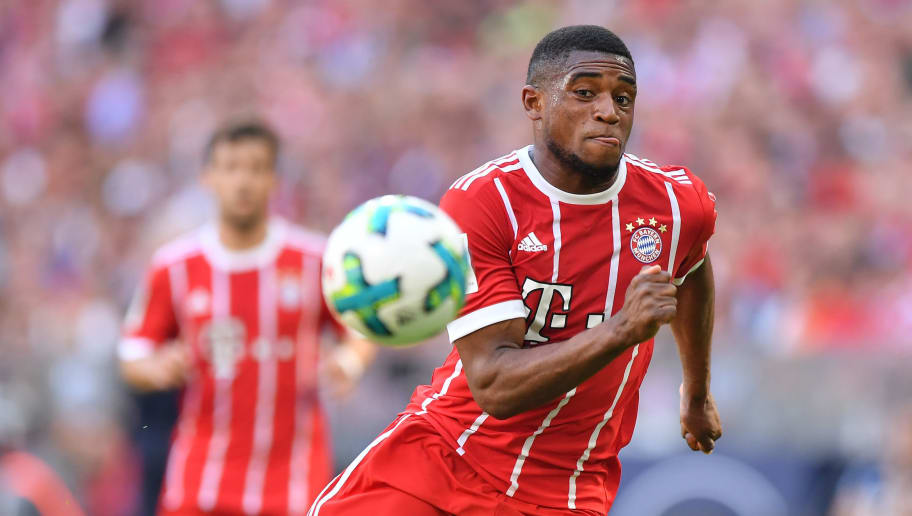 MUNICH, GERMANY - APRIL 28: Franck Evina of Bayern Muenchen runs after the ball during the Bundesliga match between FC Bayern Muenchen and Eintracht Frankfurt at Allianz Arena on April 28, 2018 in Munich, Germany. (Photo by Sebastian Widmann/Bongarts/Getty Images)