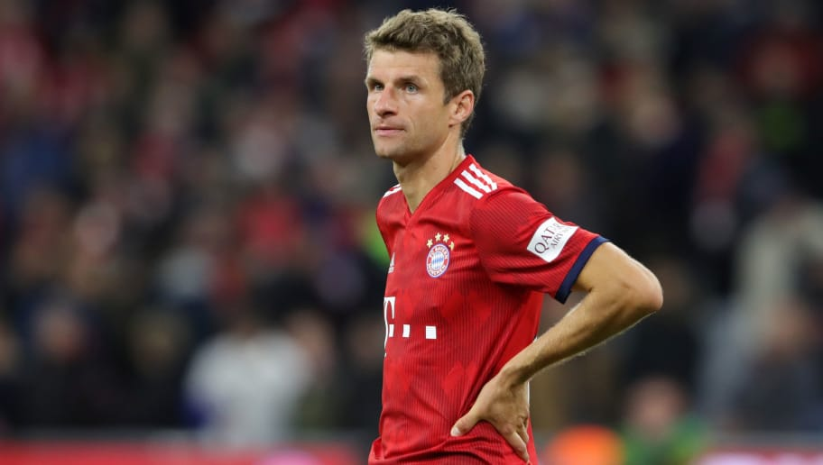 MUNICH, GERMANY - SEPTEMBER 25:  Thomas Mueller of Bayern Munich looks on during the Bundesliga match between FC Bayern Muenchen and FC Augsburg at Allianz Arena on September 25, 2018 in Munich, Germany.  (Photo by Alexander Hassenstein/Bongarts/Getty Images)