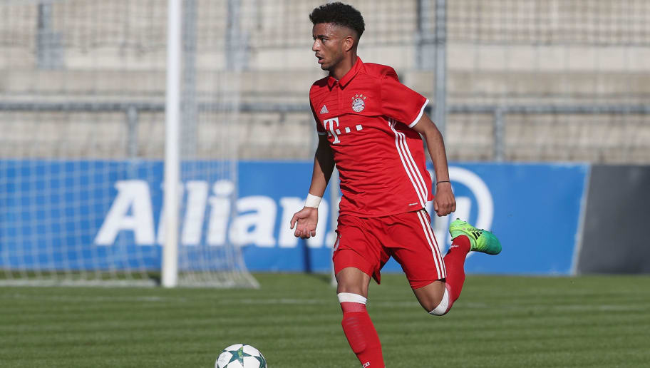 MUNICH, GERMANY - MAY 10:  Timothy Tillman of FC Bayern Muenchen kicks the ball during the A-Juniors semi final first leg German Championship match between FC Bayern Muenchen and FC Schalke 04 on May 10, 2017 in Munich, Germany.  (Photo by Alexandra Beier/Bongarts/Getty Images)