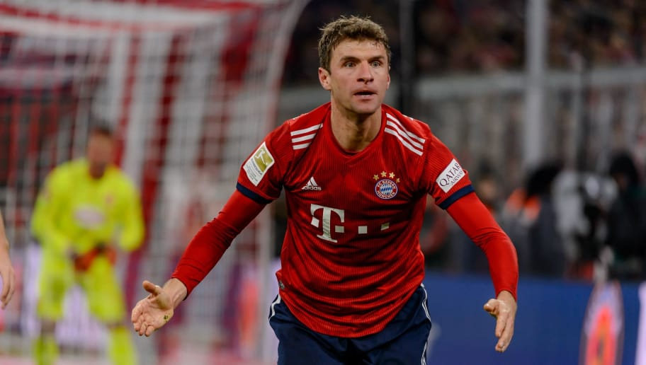 MUNICH, GERMANY - NOVEMBER 24: Thomas Mueller of Bayern Muenchen gestures during the Bundesliga match between FC Bayern Muenchen and Fortuna Duesseldorf at Allianz Arena on November 24, 2018 in Munich, Germany. (Photo by TF-Images/Getty Images).