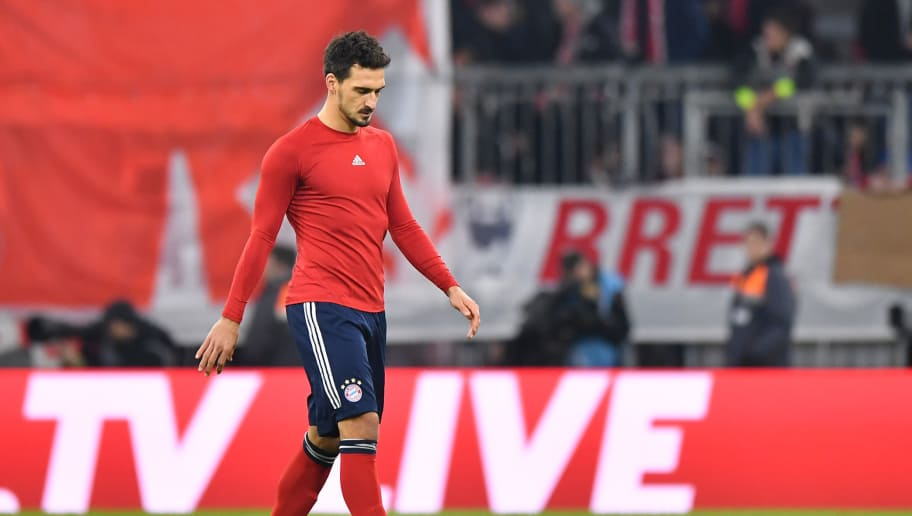 MUNICH, GERMANY - NOVEMBER 24: Mats Hummels of Bayern Muenchen looks down after the Bundesliga match between FC Bayern Muenchen and Fortuna Duesseldorf at Allianz Arena on November 24, 2018 in Munich, Germany. (Photo by Sebastian Widmann/Bongarts/Getty Images)