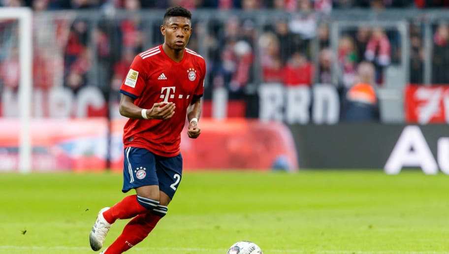 MUNICH, GERMANY - NOVEMBER 24: David Alaba of Bayern Muenchen controls the ball during the Bundesliga match between FC Bayern Muenchen and Fortuna Duesseldorf at Allianz Arena on November 24, 2018 in Munich, Germany. (Photo by TF-Images/Getty Images)