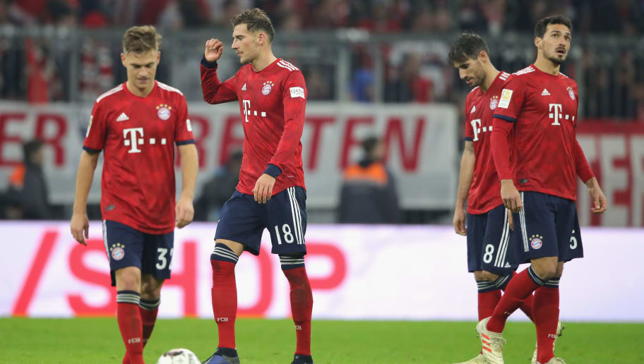 MUNICH, GERMANY - NOVEMBER 24:  (L-R) Joshua Kimmich, Leon Goretzka, Javier Martinez and Mats Hummels of Muenchen react after receiving the 3rd goal during the Bundesliga match between FC Bayern Muenchen and Fortuna Duesseldorf at Allianz Arena on November 24, 2018 in Munich, Germany.  (Photo by Alexander Hassenstein/Bongarts/Getty Images)