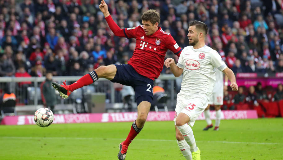 MUNICH, GERMANY - NOVEMBER 24:  Thomas Mueller of Bayern Munich scores his team's second goal during the Bundesliga match between FC Bayern Muenchen and Fortuna Duesseldorf at Allianz Arena on November 24, 2018 in Munich, Germany.  (Photo by Alexander Hassenstein/Bongarts/Getty Images)