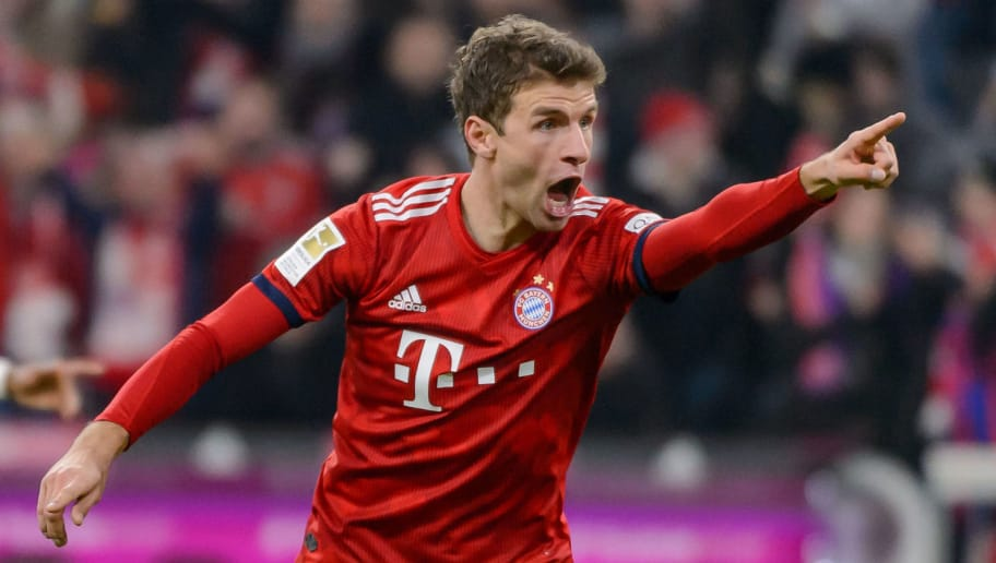 MUNICH, GERMANY - NOVEMBER 24: Thomas Mueller of Bayern Muenchen celebrates during the Bundesliga match between FC Bayern Muenchen and Fortuna Duesseldorf at Allianz Arena on November 24, 2018 in Munich, Germany. (Photo by TF-Images/Getty Images).