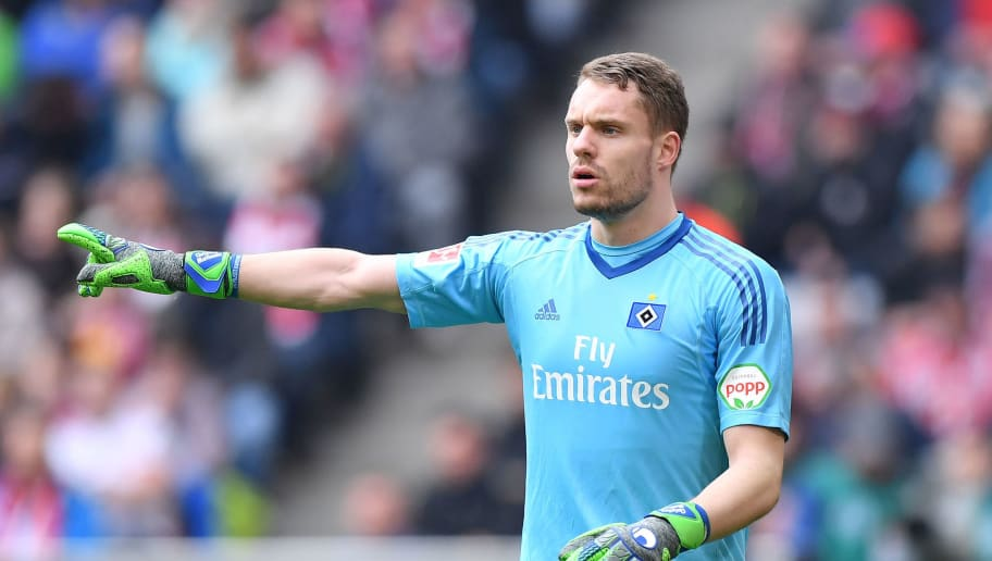 MUNICH, GERMANY - MARCH 10: Goalkeeper Christian Mathenia of Hamburg gestures during the Bundesliga match between FC Bayern Muenchen and Hamburger SV at Allianz Arena on March 10, 2018 in Munich, Germany. (Photo by Sebastian Widmann/Bongarts/Getty Images)