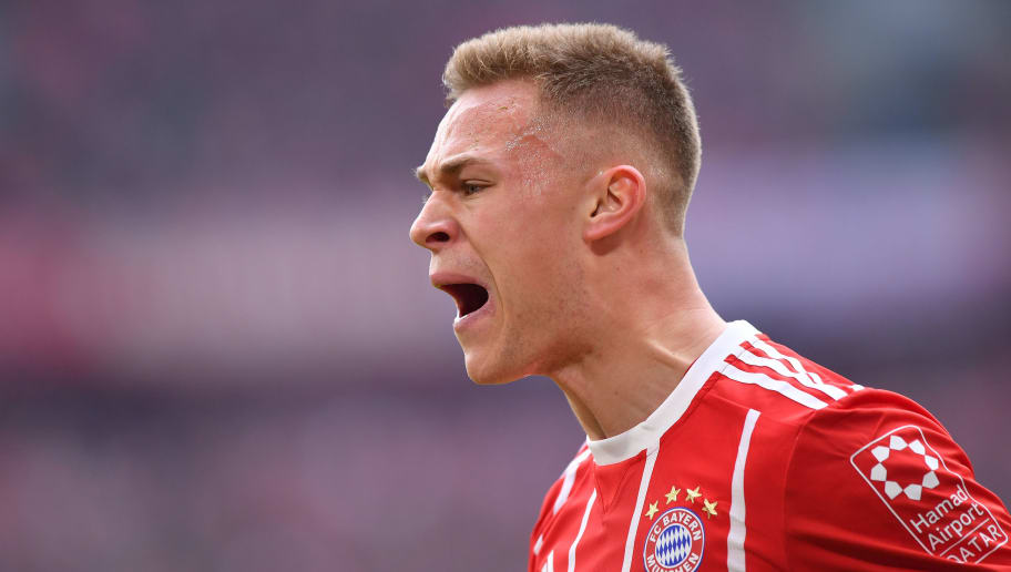 MUNICH, GERMANY - MARCH 10: Joshua Kimmich of Bayern Muenchen yells during the Bundesliga match between FC Bayern Muenchen and Hamburger SV at Allianz Arena on March 10, 2018 in Munich, Germany. (Photo by Sebastian Widmann/Bongarts/Getty Images)