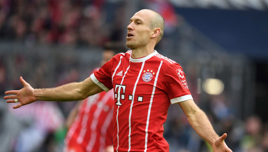 MUNICH, GERMANY - MARCH 10: Arjen Robben of Bayern Munich celebrates scoring his side's fourth goal during the Bundesliga match between FC Bayern Muenchen and Hamburger SV at Allianz Arena on March 10, 2018 in Munich, Germany. (Photo by Etsuo Hara/Getty Images)
