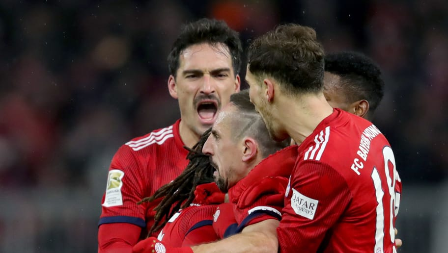 MUNICH, GERMANY - DECEMBER 19:  Franck Ribery of Bayern Muenchen celebrates scoring the opening goal with his team mates during the Bundesliga match between FC Bayern Muenchen and RB Leipzig at Allianz Arena on December 19, 2018 in Munich, Germany.  (Photo by Alexander Hassenstein/Bongarts/Getty Images)