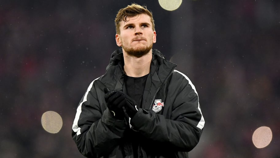 MUNICH, GERMANY - DECEMBER 19:  Timo Werner of RB Leipzig applauds fans after the Bundesliga match between FC Bayern Muenchen and RB Leipzig at Allianz Arena on December 19, 2018 in Munich, Germany.  (Photo by Sebastian Widmann/Bongarts/Getty Images)