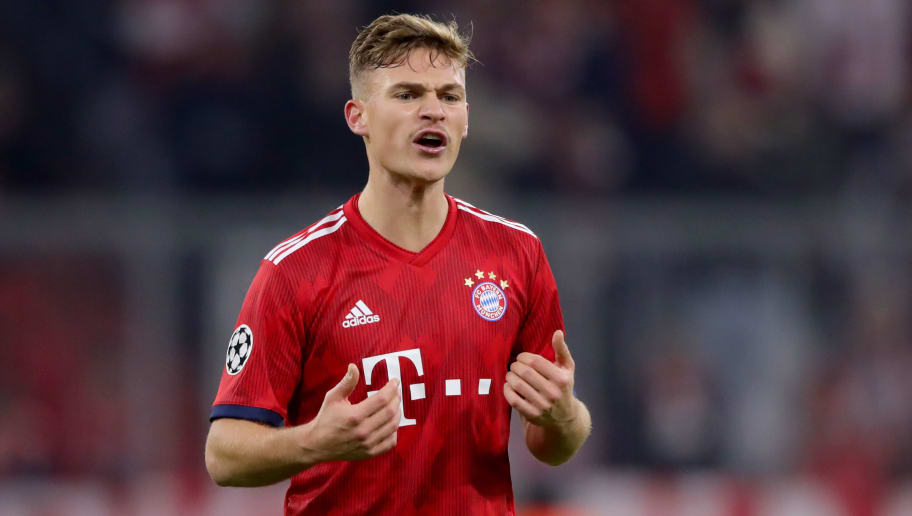 MUNICH, GERMANY - NOVEMBER 27:  Joshua Kimmich  of FC Bayern Muenchen reacts during the Group E match of the UEFA Champions League between FC Bayern Muenchen and SL Benfica at Allianz Arena on November 27, 2018 in Munich, Germany.  (Photo by Alexander Hassenstein/Bongarts/Getty Images)