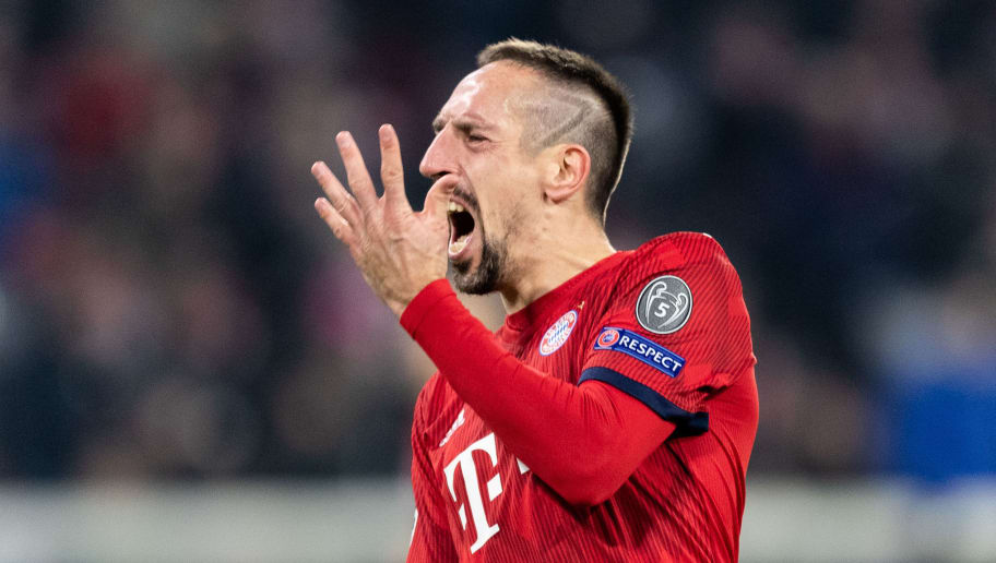 MUNICH, GERMANY - NOVEMBER 27: Franck Ribery of FC Bayern Muenchen reacts during the Group E match of the UEFA Champions League between FC Bayern Muenchen and SL Benfica at Allianz Arena on November 27, 2018 in Munich, Germany. (Photo by Boris Streubel/Getty Images)