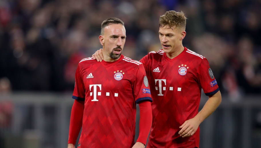 MUNICH, GERMANY - NOVEMBER 27:  Franck Ribery of FC Bayern Muenchen celebrates scoring the 5th goal with his team mate Joshua Kimmich during the Group E match of the UEFA Champions League between FC Bayern Muenchen and SL Benfica at Allianz Arena on November 27, 2018 in Munich, Germany.  (Photo by Alexander Hassenstein/Bongarts/Getty Images)