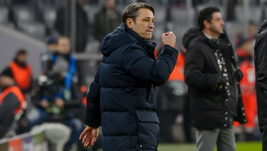 MUNICH, GERMANY - NOVEMBER 27: Head coach Niko Kovac of Bayern Muenchen celebrates a goal during the Group E match of the UEFA Champions League between FC Bayern Muenchen and SL Benfica at Allianz Arena on November 27, 2018 in Munich, Germany. (Photo by TF-Images/Getty Images)