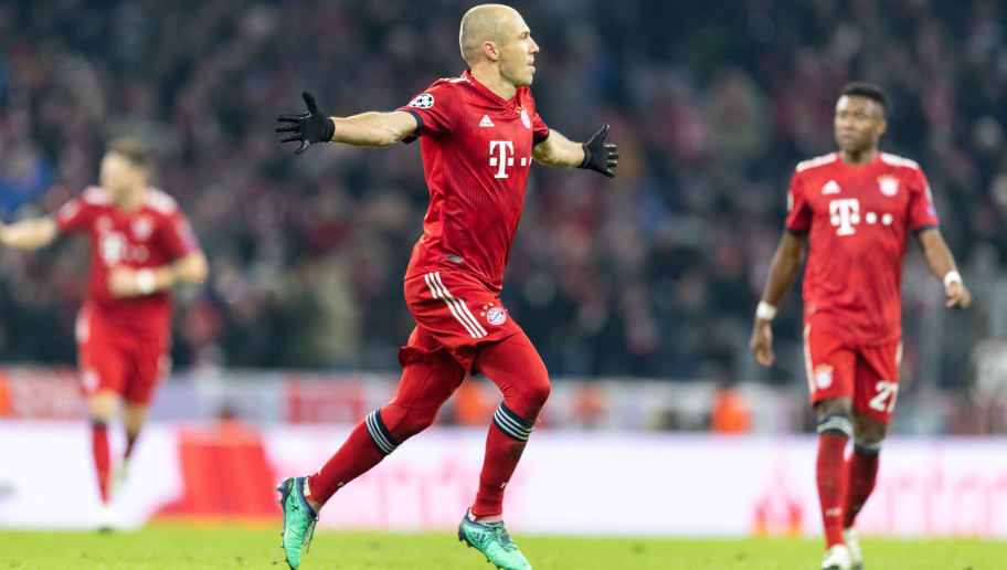 MUNICH, GERMANY - NOVEMBER 27: Arjen Robben of FC Bayern Muenchen celebrates after scoring his team's second goal during the Group E match of the UEFA Champions League between FC Bayern Muenchen and SL Benfica at Allianz Arena on November 27, 2018 in Munich, Germany. (Photo by Boris Streubel/Getty Images)