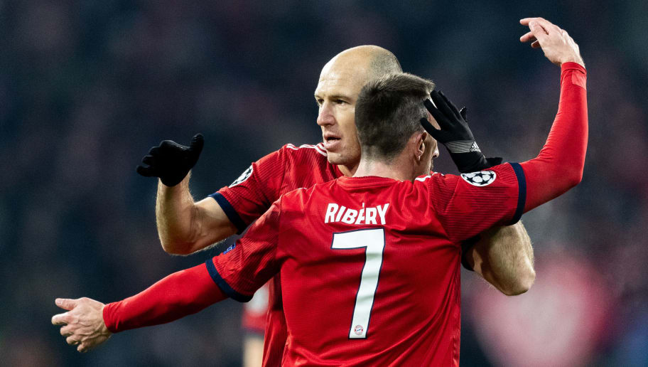 MUNICH, GERMANY - NOVEMBER 27: Arjen Robben of FC Bayern Muenchen celebrates with Franck Ribery of FC Bayern Muenchen after scoring his team's second goal during the Group E match of the UEFA Champions League between FC Bayern Muenchen and SL Benfica at Allianz Arena on November 27, 2018 in Munich, Germany. (Photo by Boris Streubel/Getty Images)