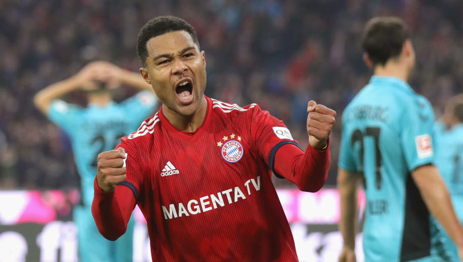MUNICH, GERMANY - NOVEMBER 03:  Serge Gnabry of Bayern Muenchen celebrates scoring the opening goal during the Bundesliga match between FC Bayern Muenchen and Sport-Club Freiburg at Allianz Arena on November 3, 2018 in Munich, Germany.  (Photo by Alexander Hassenstein/Bongarts/Getty Images)