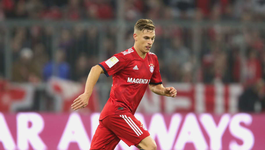 MUNICH, GERMANY - NOVEMBER 03:  Joshua Kimmich of Bayern Muenchen runs with the ball during the Bundesliga match between FC Bayern Muenchen and Sport-Club Freiburg at Allianz Arena on November 3, 2018 in Munich, Germany.  (Photo by Alexander Hassenstein/Bongarts/Getty Images)