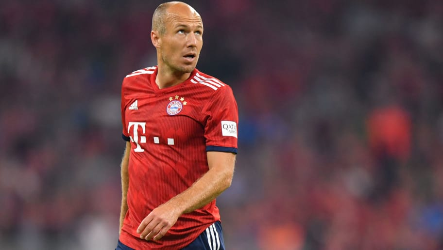 MUNICH, GERMANY - AUGUST 24: Arjen Robben of Bayern Muenchen looks on during the Bundesliga match between FC Bayern Muenchen and TSG 1899 Hoffenheim at Allianz Arena on August 24, 2018 in Munich, Germany. (Photo by Sebastian Widmann/Bongarts/Getty Images)