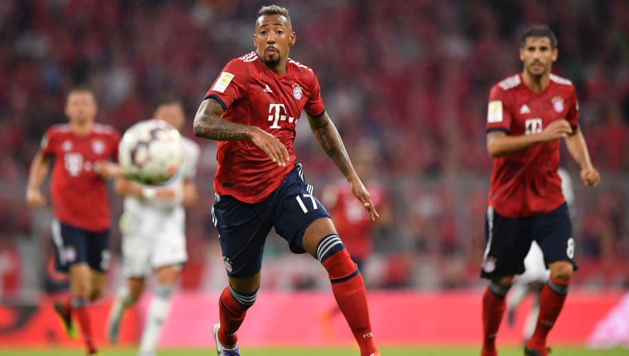 MUNICH, GERMANY - AUGUST 24: Jerome Boateng of Bayern Muenchen plays the ball during the Bundesliga match between FC Bayern Muenchen and TSG 1899 Hoffenheim at Allianz Arena on August 24, 2018 in Munich, Germany. (Photo by Sebastian Widmann/Bongarts/Getty Images)
