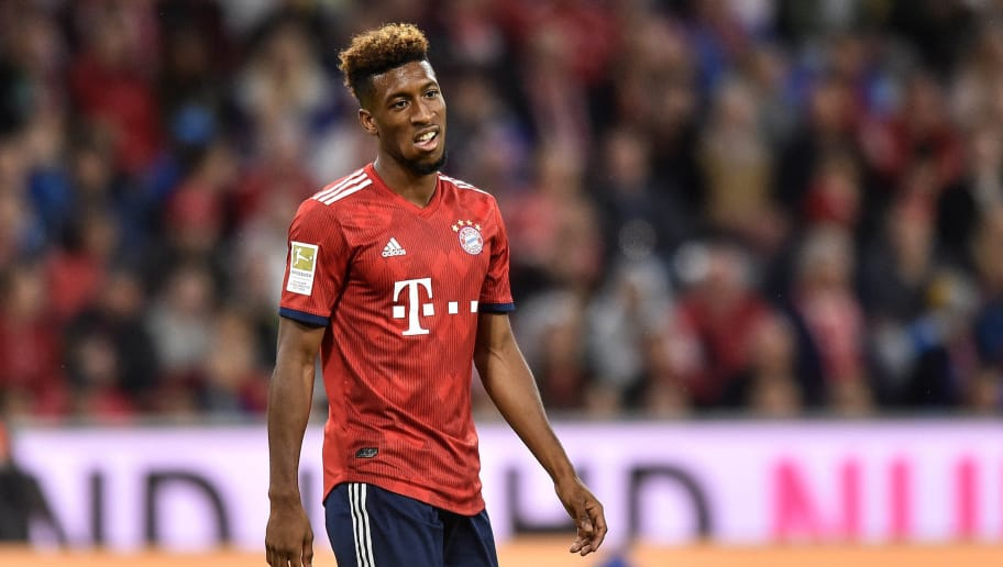 MUNICH, GERMANY - AUGUST 24: Kingsley Coman of Bayern Muenchen looks during the Bundesliga match between FC Bayern Muenchen and TSG 1899 Hoffenheim at Allianz Arena on August 24, 2018 in Munich, Germany. (Photo by Lukasz Laskowski/PressFocus/MB Media/Getty Images)