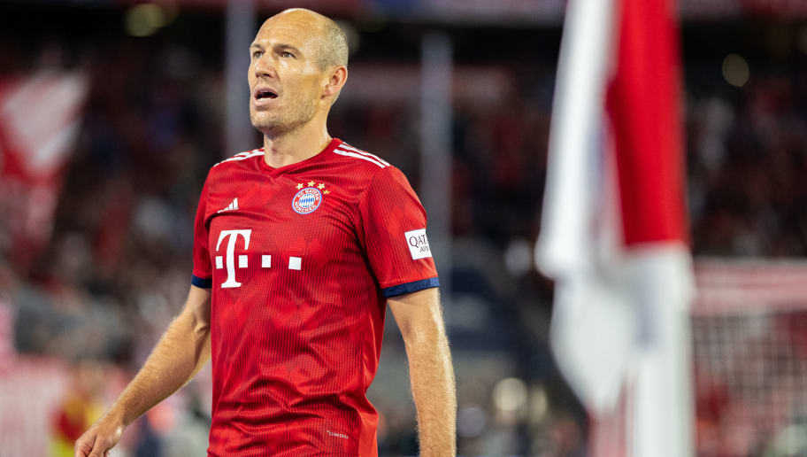 MUNICH, GERMANY - AUGUST 24: Arjen Robben of FC Bayern Muenchen celebrates after scoring his team's third goal during the Bundesliga match between FC Bayern Muenchen and TSG 1899 Hoffenheim at Allianz Arena on August 24, 2018 in Munich, Germany. (Photo by Boris Streubel/Getty Images)