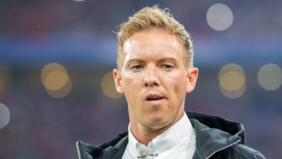 MUNICH, GERMANY - AUGUST 24: Head coach Julian Nagelsmann of TSG Hoffenheim looks on prior to the Bundesliga match between FC Bayern Muenchen and TSG 1899 Hoffenheim at Allianz Arena on August 24, 2018 in Munich, Germany. (Photo by Boris Streubel/Getty Images)