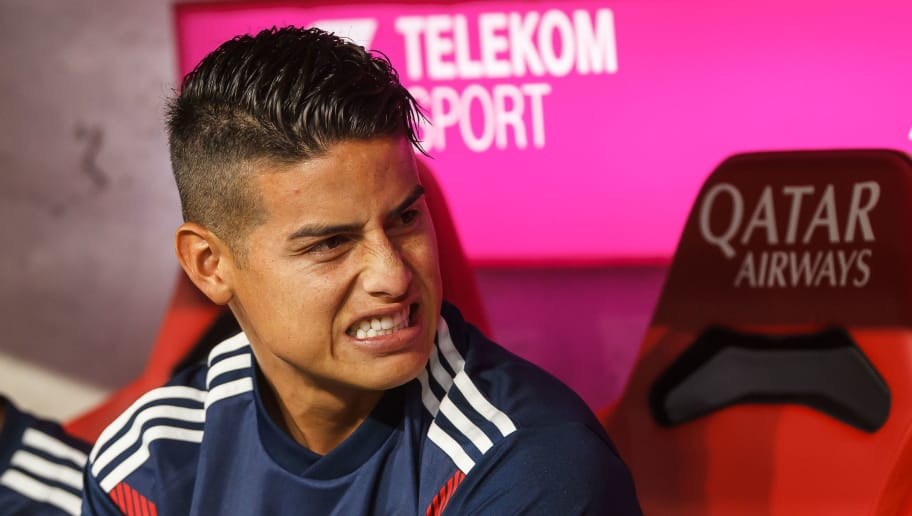 MUNICH, GERMANY - AUGUST 24: James Rodriguez of Bayern Muenchen looks on prior to the Bundesliga match between FC Bayern Muenchen and TSG 1899 Hoffenheim at Allianz Arena on August 24, 2018 in Munich, Germany. (Photo by TF-Images/Getty Images)