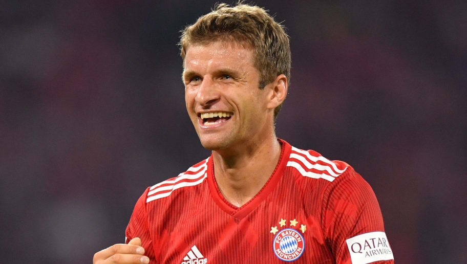 MUNICH, GERMANY - AUGUST 24: Thomas Mueller of Bayern Muenchen gestures during the Bundesliga match between FC Bayern Muenchen and TSG 1899 Hoffenheim at Allianz Arena on August 24, 2018 in Munich, Germany. (Photo by Sebastian Widmann/Bongarts/Getty Images)