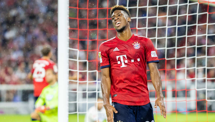 MUNICH, GERMANY - AUGUST 24:  Kingsley Coman of FC Bayern Muenchen reacts during the Bundesliga match between FC Bayern Muenchen and TSG 1899 Hoffenheim at Allianz Arena on August 24, 2018 in Munich, Germany. (Photo by Boris Streubel/Getty Images)