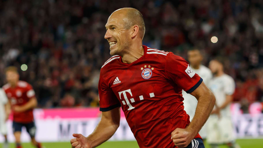 MUNICH, GERMANY - AUGUST 24: Arjen Robben of Bayern Muenchen celebrates during the Bundesliga match between FC Bayern Muenchen and TSG 1899 Hoffenheim at Allianz Arena on August 24, 2018 in Munich, Germany. (Photo by TF-Images/Getty Images)