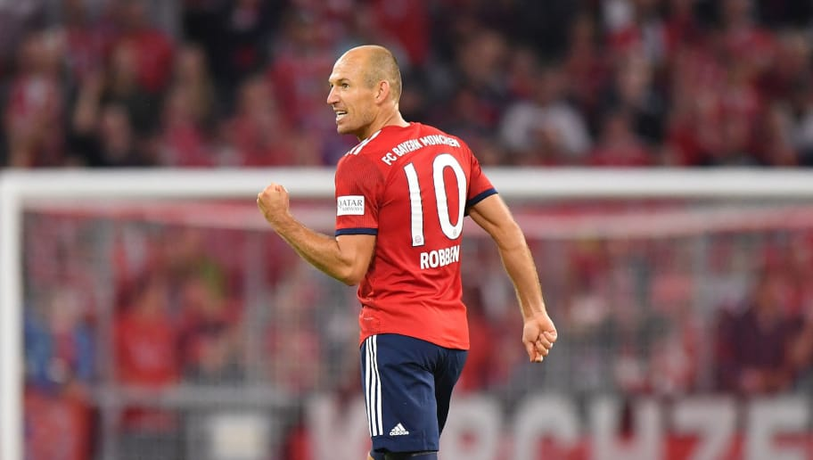 MUNICH, GERMANY - AUGUST 24: Arjen Robben of Bayern Muenchen celebrates after scoring his teams third goal during the Bundesliga match between FC Bayern Muenchen and TSG 1899 Hoffenheim at Allianz Arena on August 24, 2018 in Munich, Germany. (Photo by Sebastian Widmann/Bongarts/Getty Images)