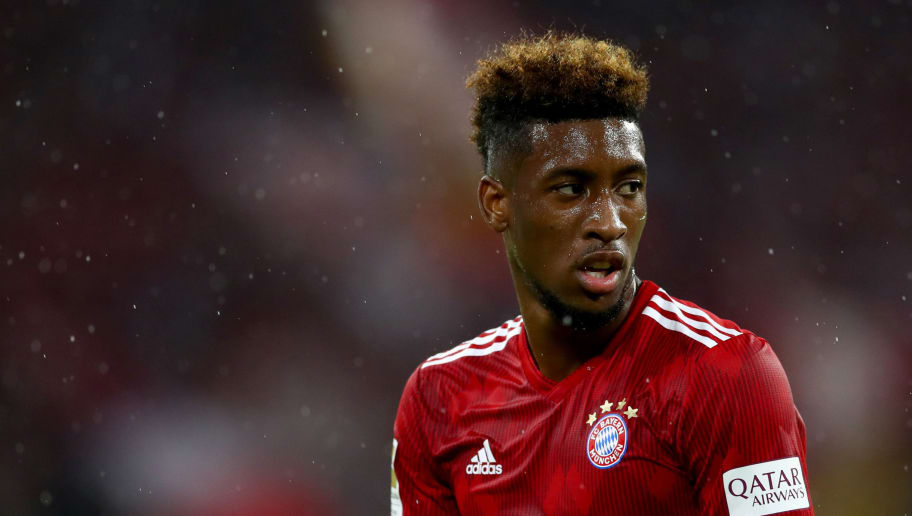 MUNICH, GERMANY - AUGUST 24:  Kingsley Coman of Muenchen is seen during the Bundesliga match between FC Bayern Muenchen and TSG 1899 Hoffenheim at Allianz Arena on August 24, 2018 in Munich, Germany.  (Photo by Lars Baron/Bongarts/Getty Images)