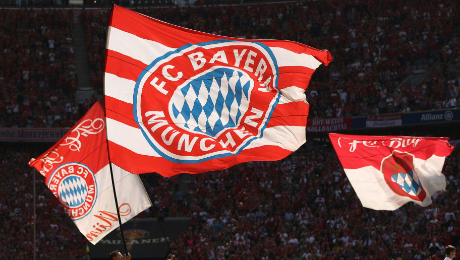 MUNICH, GERMANY - MAY 12: Flags of Bayern Muenchen are being waves by their supporters before the Bundesliga match between FC Bayern Muenchen and VfB Stuttgart at Allianz Arena on May 12, 2018 in Munich, Germany. (Photo by Adam Pretty/Bongarts/Getty Images)