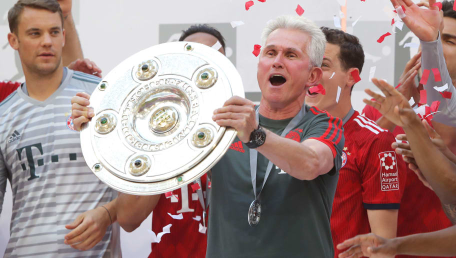 MUNICH, GERMANY - MAY 12:  Jupp Heynckes, coach of Bayern Muenchen lifts the Bundesliga trophy following the Bundesliga match between FC Bayern Muenchen and VfB Stuttgart at Allianz Arena on May 12, 2018 in Munich, Germany.  (Photo by Alexander Hassenstein/Bongarts/Getty Images)