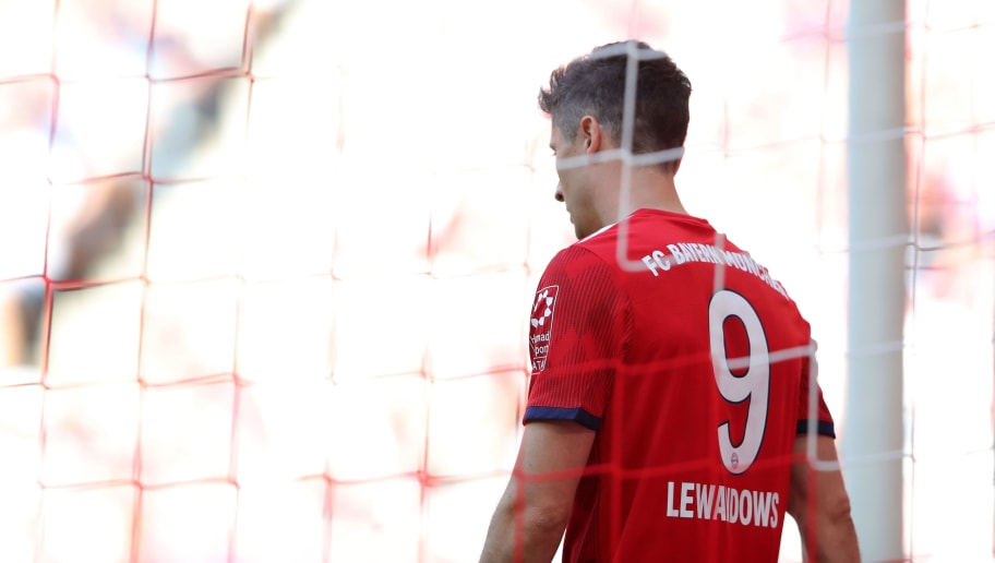 MUNICH, GERMANY - MAY 12:  Robert Lewandowski of FC Bayern Muenchen reacts during the Bundesliga match between FC Bayern Muenchen and VfB Stuttgart at Allianz Arena on May 12, 2018 in Munich, Germany.  (Photo by Alexander Hassenstein/Bongarts/Getty Images)