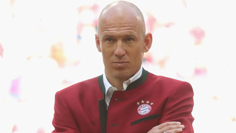 MUNICH, GERMANY - MAY 12:  Arjen Robben of FC Bayern Muenchen attends  the Bundesliga match between FC Bayern Muenchen and VfB Stuttgart at Allianz Arena on May 12, 2018 in Munich, Germany.  (Photo by Alexander Hassenstein/Bongarts/Getty Images)