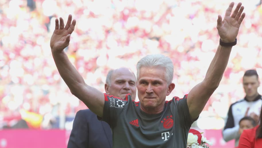 MUNICH, GERMANY - MAY 12:  Jupp Heynckes, coach of Bayern Muenchen shows appreciation to the fans prior to his final game during the Bundesliga match between FC Bayern Muenchen and VfB Stuttgart at Allianz Arena on May 12, 2018 in Munich, Germany.  (Photo by Alexander Hassenstein/Bongarts/Getty Images)