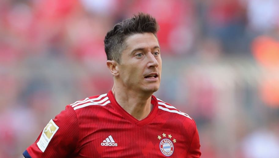 MUNICH, GERMANY - MAY 12:  Robert Lewandowski of FC Bayern Muenchen runs with the ball during the Bundesliga match between FC Bayern Muenchen and VfB Stuttgart at Allianz Arena on May 12, 2018 in Munich, Germany.  (Photo by Alexander Hassenstein/Bongarts/Getty Images)